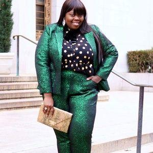 Eloquii green pattern blazer